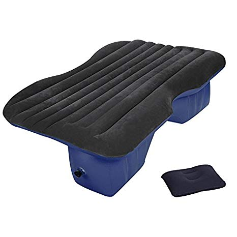 Heavy Duty Car Travel Inflatable Mattress with Electrical Pump Black