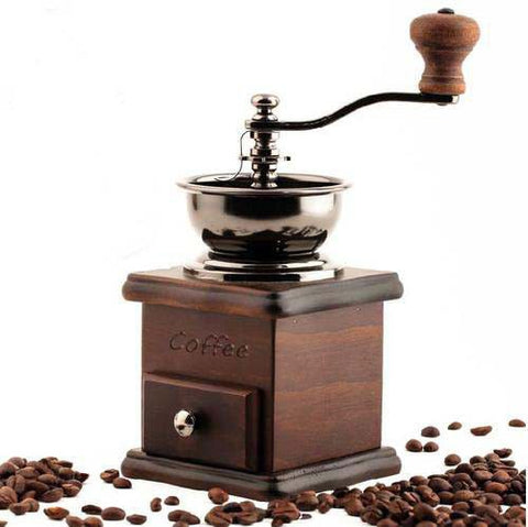 Old Style Wooden Manual Operation Coffee Bean Grinder