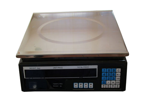 Digital Price Computing Scale (40kg) - Kitchen & Industrial Use with New LED Display (Rystel)