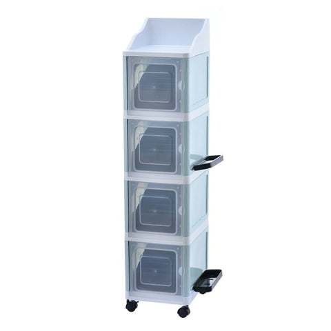 4 Tier Stackable Multi-Functional Cabinet with Umbrella&Accessory Rack - Blue