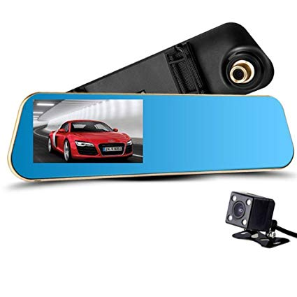 Fom Vehicle Rearview Mirror Dual Channel Recorder