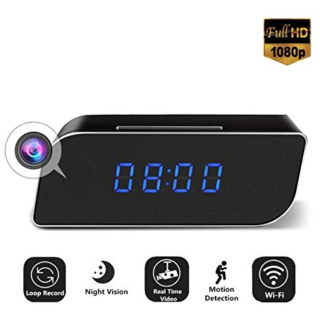 Wireless Mini Wifi Spy Clock with Motion Sensor Camera