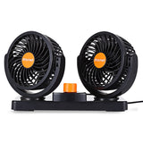 Mitchell Double Fans Combination 360 Degree Rotating Car Cooling Fan Air Conditioner for Cars (Blue