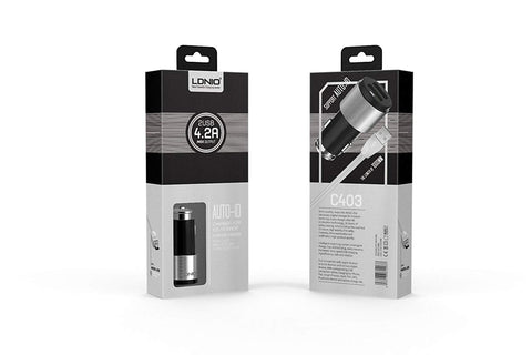 LDNIO C403 Fast Dual USB Car Charger with iPhone Cable - 4.2A