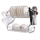 Two Tier Kitchen Dish Rack - Silver