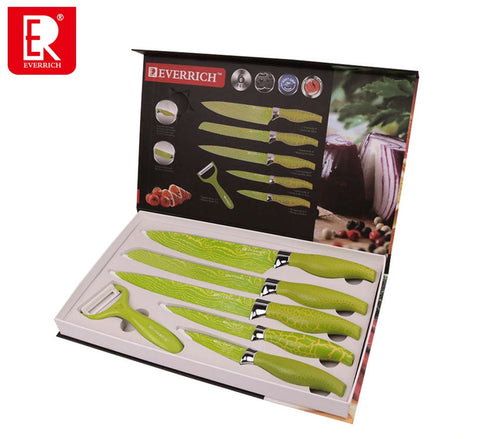 Everrich 6 PIECE KITCHEN KNIFE SET IN GIFT BOX BY SOFIA'S STORE - BEAUTIFUL, UNIQUE GIFT