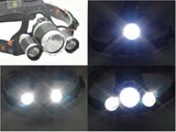 3 CREE XML- T6 LED Head Lamp 4 Lighting Modes, Adjustable Head Strap, Battery Charger