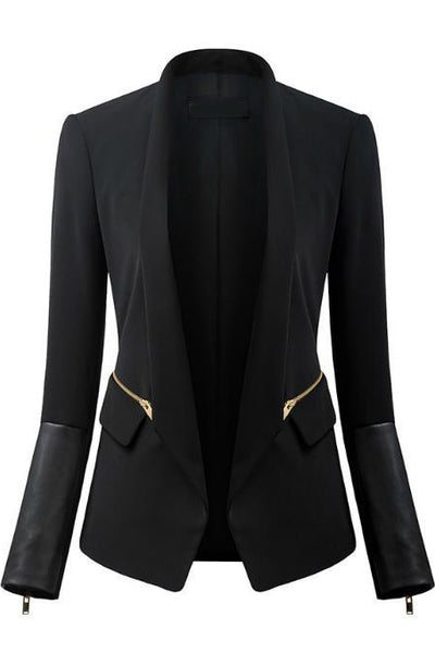 BLACK COAT WITH LEATHER DETAIL