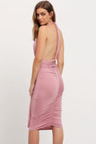 PINK CONVERTIBLE HALTER DRESS