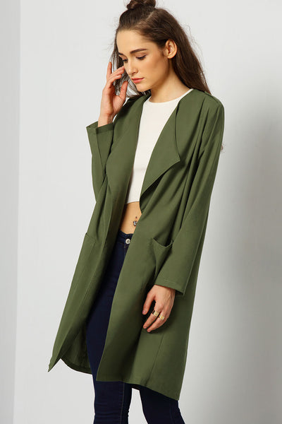 ARMY GREEN LIGHT TRENCH COAT