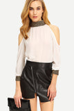 METALLIC TRIM COLD SHOULDER BLOUSE RTS