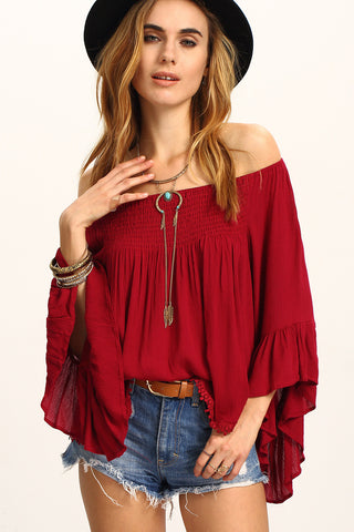 a2db3b56f18f0 White Off Shoulder Bell Sleeve Top-RTS – Rare Collect