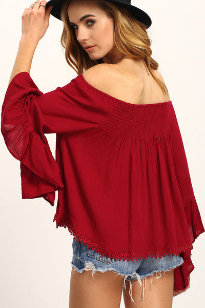 Burgundy Off-The-Shoulder Bell Sleeve Blouse RTS