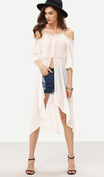 Lace Cold Shoulder Maxi Top-RTS