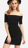 Laced Up Ribbed Bodycon Off Shoulder Dress