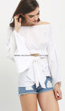 Cut Out Tie Up Off Shoulder Top
