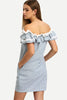 FLOUNCE LAYERED NECKLINE VERTICAL STRIPED POCKETS DRESS RTS