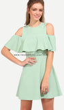 Mint Ruffle Cold Shoulder Dress