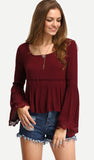 Burgundy bell sleeve with lace trim