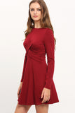 ENVY BURGUNDY SKATER DRESS