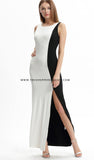 Monochrome Slit Maxi Dress