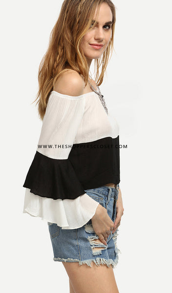 Monochrome Layered Off Shoulder Top