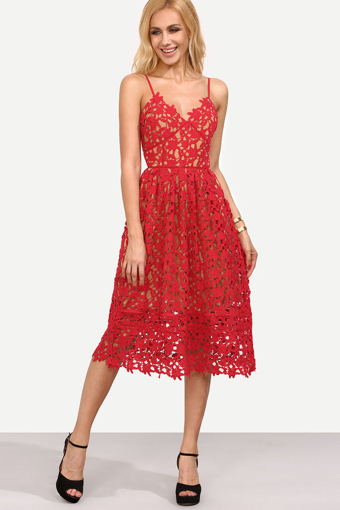 0096d670e718 EYELET LACE MIDI DRESS - RED – Rare Collect