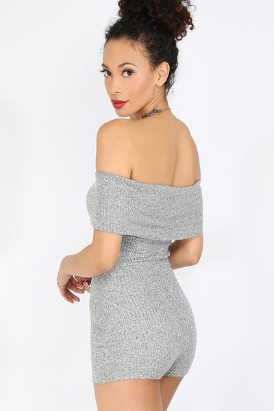 CLASSY GREY OFF THE SHOULDER BODYSUIT TOP