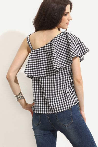 GINGHAM ONE SHOULDER TOP RTS