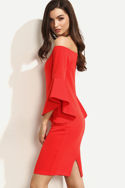 BARDOT RUFFLE SLEEVE SPLIT PENCIL DRESS