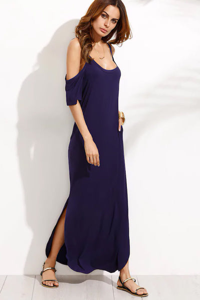 POCKET OPEN SHOULDER SPLIT FULL LENGTH DRESS