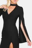 BLACK CHOKER SLIT SLEEVE DRESS