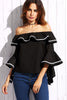 ELISE RUFFLE TRIM OFF SHOULDER TOP BLACK