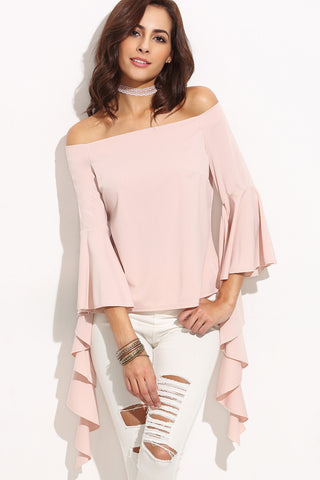 ELISE RUFFLE TRIM OFF SHOULDER TOP WHITE