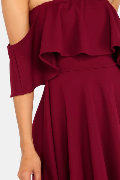 MELITA RED OFF SHOULDER DRESS