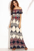 BARDOT PRINT SELF TIE FRONT FLOOR LENGTH DRESS