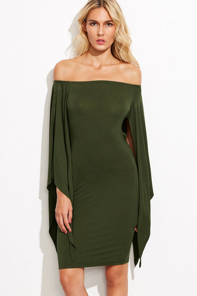 OLIVE BOW DETAIL WING SLEEVE DRESS