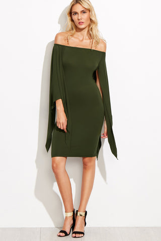 TIERED FLUTED SLEEVE CHOKER NECK DRESS