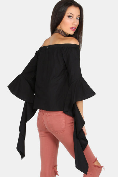 MELROSE COTTON RUFFLE SLEEVE TOP RTS