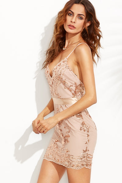 BACK PLUNGE SEQUINS CAMI DRESS