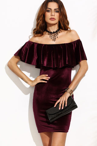 CRUSHED VELVET JAZZY PENCIL DRESS