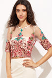 ROSALIA EMBRODERED NET TOP WITH LINING