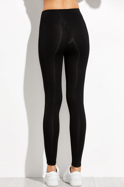 BLACK CONTRAST PANELLED LEGGINGS