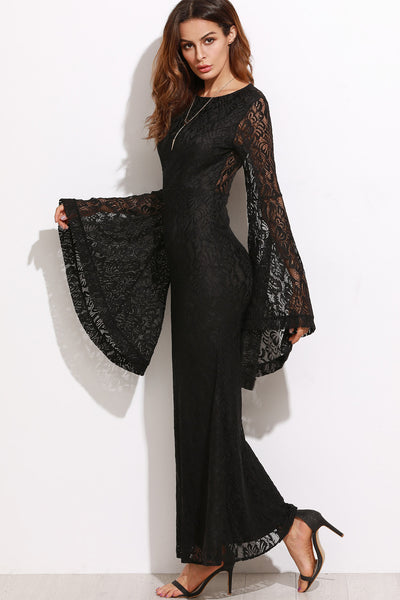 ALL OVER LACE FLARE SLEEVE MAXI DRESS
