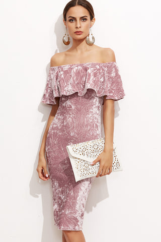 LAVENDER ONE SHOULDER RUFFLE DRESS