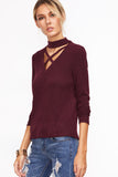CRISSCROSS CHOKER NECK RIBBED T-SHIRT