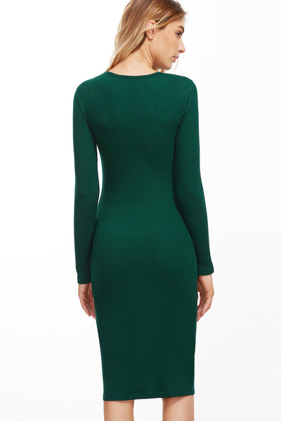 ENVY GREEN FULL SLEEVE RIBBED MIDI