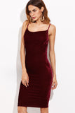 BURGUNDY VELVET CAMI SHEATH DRESS