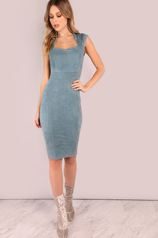 GREY LACED UP SLEEVELESS RIBBED DRESS
