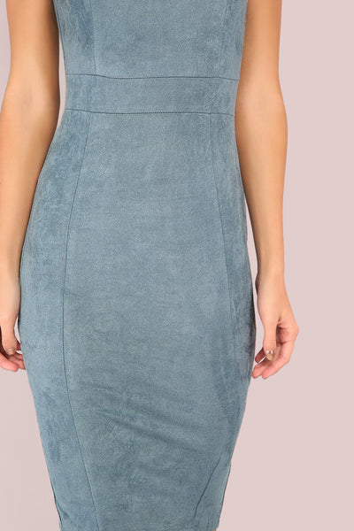 BLUE SUEDE SWEETHEART NECK DRESS